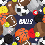 Seamless pattern of balls. Football, volleyball, basketball vector illustration