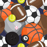 Seamless pattern of balls. Football, volleyball, besketbol, golf Stock Images