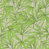 Seamless pattern with bamboo leaves and branches in Japanese sty Royalty Free Stock Photos