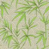 Seamless pattern with bamboo leaves and branches in Japanese sty Stock Photo