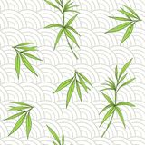 Seamless pattern with bamboo leaves and branches  Royalty Free Stock Image