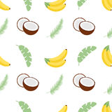 Seamless pattern with banana leaves, bananas and coconuts. Vector illustration. Easy to use for backdrop, textile Royalty Free Stock Photography