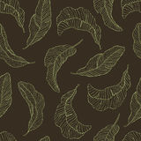 Seamless Pattern. Banana Leaves black Background. Seamless Pattern. Tropical Palm Leaves Background. Banana. Vector. Exotic Texture Floral Wallpaper Stock Image