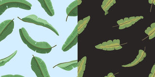 Seamless pattern with banana leaves vector illustration. Royalty Free Stock Photos