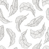 Seamless Pattern. Banana Leaves white Background. Royalty Free Stock Photography