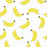 Seamless pattern with bananas. Bananas on a white background. Royalty Free Stock Photo