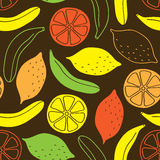 Seamless pattern of bananas and lemons. Royalty Free Stock Images