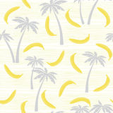 Seamless pattern with bananas and palm trees. Abstract summer ba Royalty Free Stock Photography