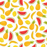 Seamless pattern with bananas, pineapples and lemons. Cute tropi Stock Image