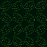 Seamless pattern with bananas and text- organic banana. Bright contrasting contour on dark background. stock illustration