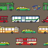Seamless pattern Bangkok public transportation illustration pixe Royalty Free Stock Images