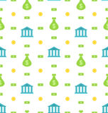 Seamless Pattern with Bank Institution, Bank Notes, Business Background Stock Images