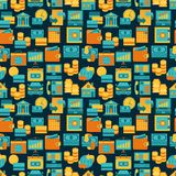 Seamless pattern of banking icons.  Royalty Free Stock Images