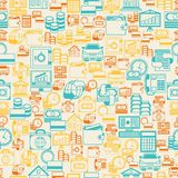Seamless pattern of banking icons.  Royalty Free Stock Photo