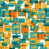 Seamless pattern of banking icons.  Royalty Free Stock Image