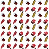 Seamless pattern with banks and bottles on a white background. vector illustration
