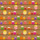 Seamless pattern with banks with different jam. On the shelves. vector illustration Royalty Free Stock Image