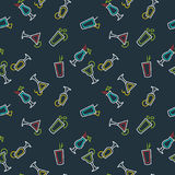 Seamless pattern for bar menu alcoholic cocktail. Vector line drawing of a Drink on background. Stock Photography