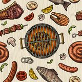 Seamless pattern barbecue grill. Top view charcoal, sausage, fish, steak. Stock Photo