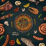 Seamless pattern barbecue grill. Top view charcoal, sausage, fish, steak. Seamless pattern barbecue grill. Top view with charcoal, mushroom, tomato, pepper Stock Images