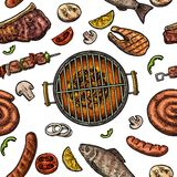 Seamless pattern barbecue grill. Top view charcoal, sausage, fish, steak. Seamless pattern barbecue grill. Top view with charcoal, mushroom, tomato, pepper Stock Photography