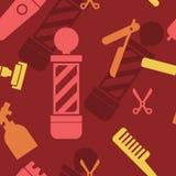 Seamless Pattern of Barbershop Salon Hair Cut Wallpaper Background.  royalty free illustration