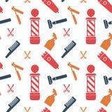Seamless Pattern of Barbershop Salon Hair Cut Wallpaper Background.  stock illustration