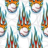 Seamless vector pattern with baseball softball ball icon and flame. Seamless pattern with baseball softball ball symbol and hot rod flame. Vector illustration Stock Photo