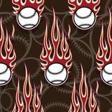 Seamless vector pattern with baseball softball ball icon and flame. Seamless pattern with baseball softball ball symbol and hot rod flame. Vector illustration Stock Image
