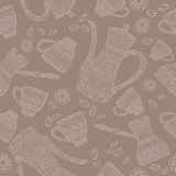 Seamless pattern based on African coffee pots and. Seamless pattern based on African coffee set with coffee pots and cups decorated with hand drawn ethnic Stock Image