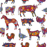 Seamless pattern based on farm animals decorated in ethnic style. Seamless pattern based on hand drawn farm animals decorated in ethnic style. Great for farm Royalty Free Stock Photography