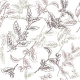 Seamless pattern based on ink painted coffee branches Stock Photography