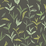 Seamless pattern based on ink painted tea leaves. And branches. Great for cafe, bars, tea ads, wallpaper, wrapping paper Royalty Free Stock Photos