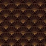 Seamless pattern based on japanese sashiko motifs. Golden color. Sashiko with fans. Abstract geometric backdrop. Sashiko motif - fans (Uchiwa). For decoration Stock Photo