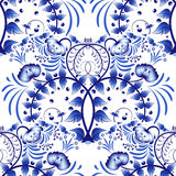 Seamless pattern based on porcelain painting gzhel style. Ornament in the national style. Blue flower painting on a white backgrou Stock Photos