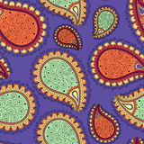 Seamless pattern based on traditional Asian elements Paisley. Royalty Free Stock Photo