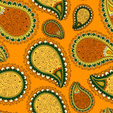 Seamless pattern based on traditional Asian elements Paisley. Royalty Free Stock Photography