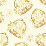 Seamless pattern with basket of blooming lilies. Stock Photo