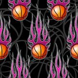 Seamless pattern with basketball ball and flame. Seamless pattern with basketball ball and hot rod flame. Vector illustration. Ideal for wallpaper, cover Stock Photos
