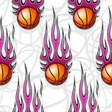 Seamless pattern with basketball ball and flame. Seamless pattern with basketball ball and hot rod flame. Vector illustration. Ideal for wallpaper, cover Stock Images