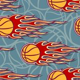 Seamless pattern with basketball ball and flame. Seamless pattern with basketball ball and hot rod flame. Vector illustration. Ideal for wallpaper, cover Royalty Free Stock Images