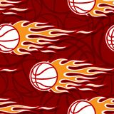 Seamless pattern with basketball ball and flame. Seamless pattern with basketball ball and hot rod flame. Vector illustration. Ideal for wallpaper, cover Stock Image