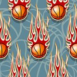 Seamless pattern with basketball ball and flame. Seamless pattern with basketball ball and hot rod flame. Vector illustration. Ideal for wallpaper, cover Stock Photography