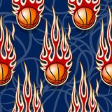 Seamless pattern with basketball ball and flame. Seamless pattern with basketball ball and hot rod flame. Vector illustration. Ideal for wallpaper, cover Royalty Free Stock Image