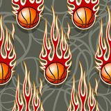 Seamless pattern with basketball ball and flame. Seamless pattern with basketball ball and hot rod flame. Vector illustration. Ideal for wallpaper, cover Stock Photo