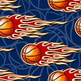 Seamless pattern with basketball ball and flame. Seamless pattern with basketball ball and hot rod flame. Vector illustration. Ideal for wallpaper, cover Royalty Free Stock Photography