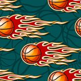 Seamless pattern with basketball ball and flame. Seamless pattern with basketball ball and hot rod flame. Vector illustration. Ideal for wallpaper, cover Royalty Free Stock Photos