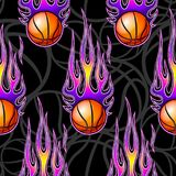 Seamless pattern with basketball balls and flames. Seamless pattern with basketball balls and hotrod flames. Vector illustration. Ideal for wallpaper, cover Royalty Free Stock Image