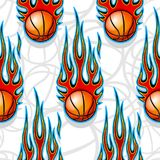 Seamless pattern with basketball balls and flames. Seamless pattern with basketball balls and hotrod flames. Vector illustration. Ideal for wallpaper, cover Stock Photography