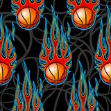 Seamless pattern with basketball balls and flames. Seamless pattern with basketball balls and hotrod flames. Vector illustration. Ideal for wallpaper, cover Royalty Free Stock Photo